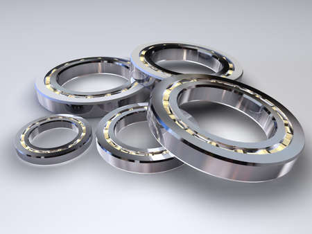 Steel ball bearings for movement of mechanical rotation, made with 3d graphics