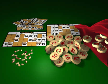 Christmas balls with folders of bingo numbers and its very old game Stock Photo