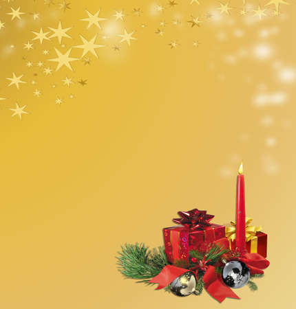 christmas card with a red candle, gift box, and buttercup-yellow background photo