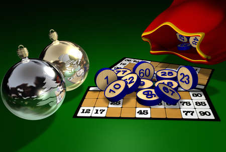 christmas balls with folders of bingo numbers and its very old game