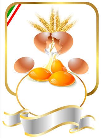 label for egg pasta Stock Photo