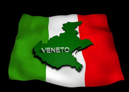 veneto region with italian flag photo