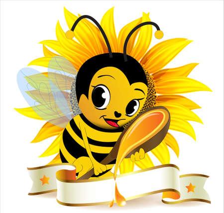 ape avec une cuillère à soupe de miel