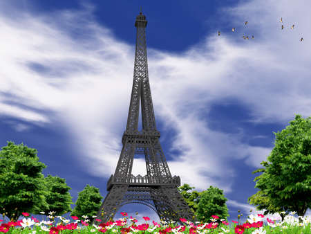 Landscape with Eiffel Tower in 3 D