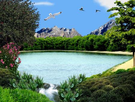 Lake with waterfall Stock Photo