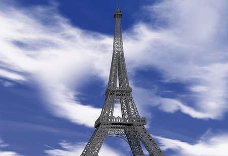 d'eiffel: Landscape with Eiffel Tower in 3 D