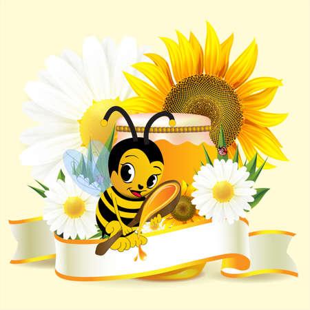Label for honey Stock Photo