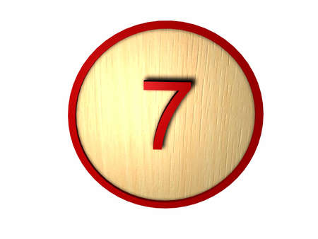 Wooden button with red outline and number inside