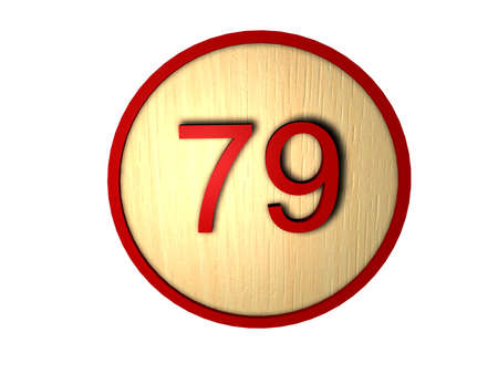 Wooden button with red outline and number inside Stock Photo - 12417002