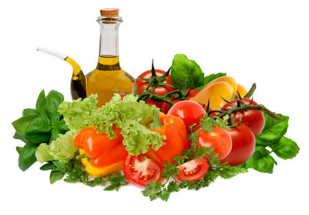 Mixed vegetables with oil and vinegar cruet Stock Photo