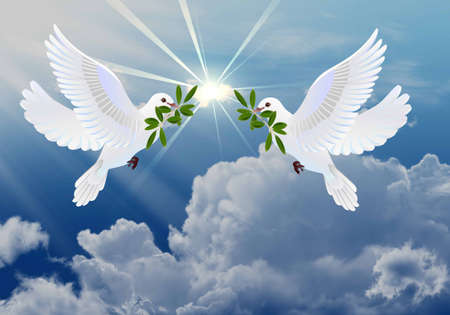 holy symbol: Doves of peace with olive branch symbol of Easter