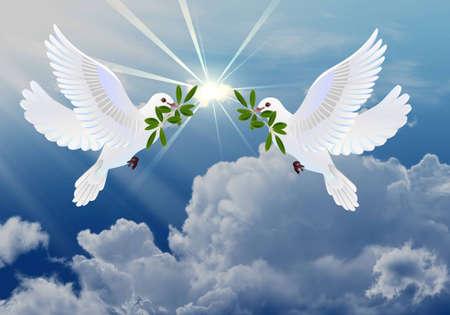 holy  symbol: Palomas de la paz con el s�mbolo de la rama de olivo de la Pascua