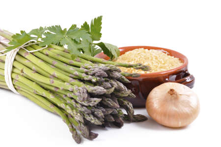 wild asparagus on white background for preparing several dishes Stock Photo - 13507135