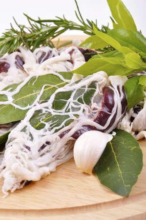 rolls, liver, pork, network, kernel, bay leaves, rosemary, garlic, cloves, leaf, salt food, meat, protein, meal, roast, cacciatore, pepper, ingredient, Stock Photo - 13507186