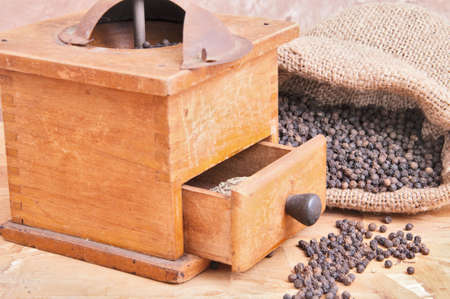 and pepper grinder antique walnut Stock Photo - 13699968