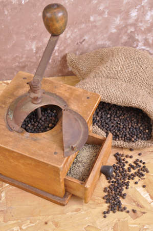 pepper grinder: pepper grinder to grind with the old wood
