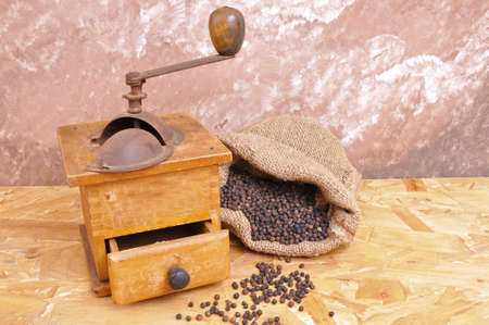 pepper grinder to grind with the old wood Stock Photo - 13699939