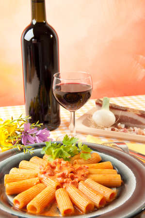 rigatoni with grappa pacetta pork with onion and cream Stock Photo