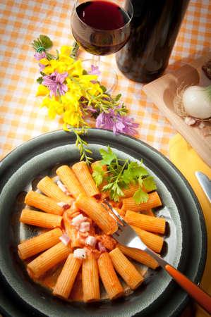 rigatoni with grappa pacetta pork with onion and cream Stock Photo - 13799288