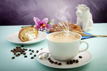 cappuccino with croissants fresh crispy cream Stock Photo