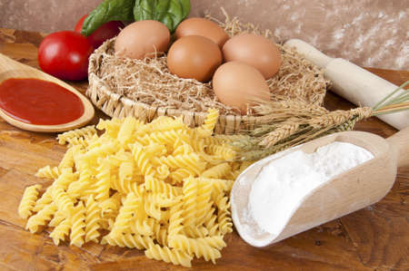 low-protein pasta  spaghetti  with flour and ingredients for the dressing