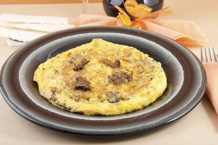 omelette with truffles shaft with red wine Stock Photo