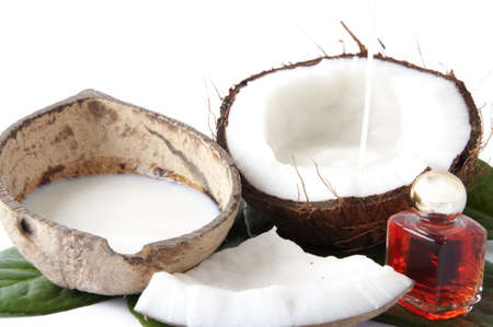 with fresh coconut fragrance on wooden board