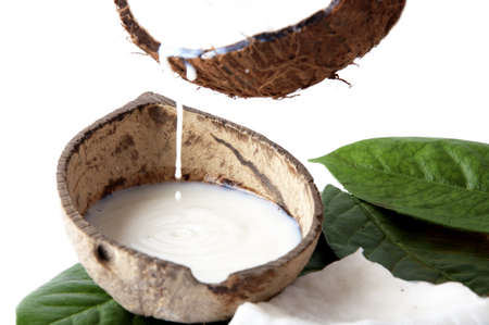 body milk: with fresh coconut fragrance on wooden board