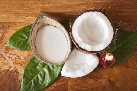 with fresh coconut fragrance on wooden board photo