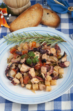 octopus with potatoes and olives to the piata with a bottle of wine Stock Photo - 14550844