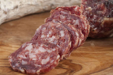 Pure boar salami slices of olive burl teapots photo