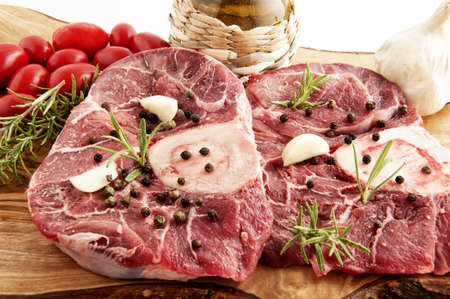 veal osso buco with rosemary and the ingredients for the dressing