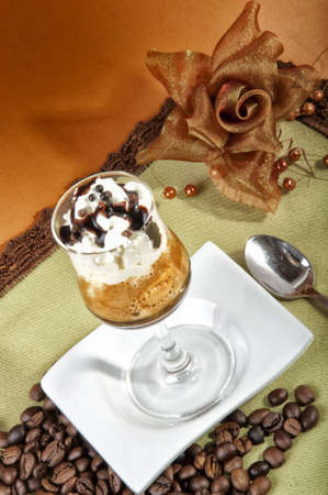 buccal: special coffee glass with whipped cream and chocolate Stock Photo