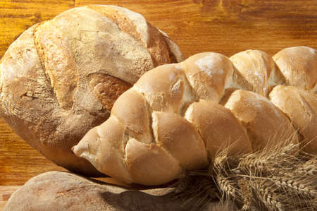 braided bread made with flour and wheat photo