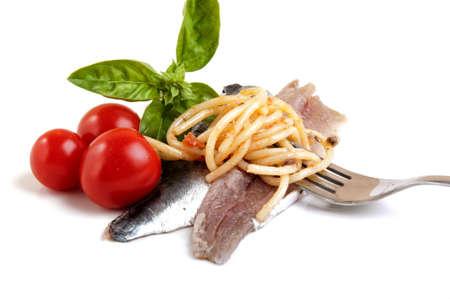 spaghetti with sauce Mediterranean sardines