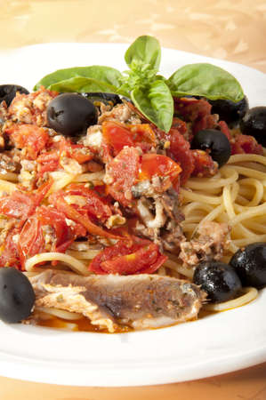 spaghetti with sauce Mediterranean sardines photo