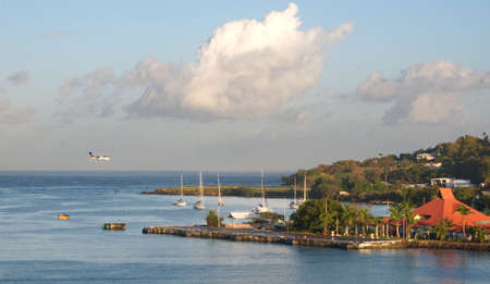 windward: Saint Lucia tropical island - Caribbean sea - Castries harbor and airport Stock Photo