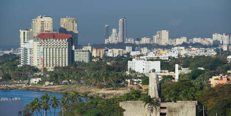 Santo Domingo waterfront, shoreline and shyline - Dominican Republic - Caribbean tropical island Imagens