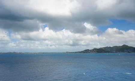 palm: Simpson Bay and Great Bay - Philipsburg Sint Maarten (Saint Martin) - Caribbean tropical island Stock Photo