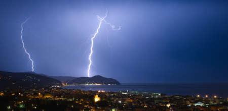 forked: Lightning and thunderstorms on the Tigullio Gulf - Ligurian Sea - Chiavari - Italy