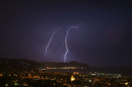 Lightning and thunderstorms on the Tigullio Gulf - Ligurian Sea - Chiavari - Italy