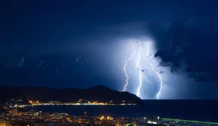 Lightning and thunderstorm on the Tigullio Gulf - Ligurian Sea - Chiavari - Lavagna - Sestri Levante - Italy