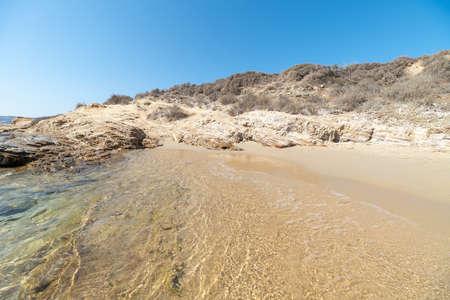 View of Marcello beach - Cyclades island - Aegean sea - Paroikia (Parikia) Paros - Greece Stockfoto