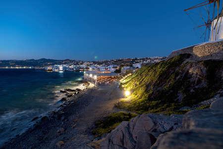 View of Chora village ( Little Venice ) - Mykonos Cyclades island - Aegean sea - Greece