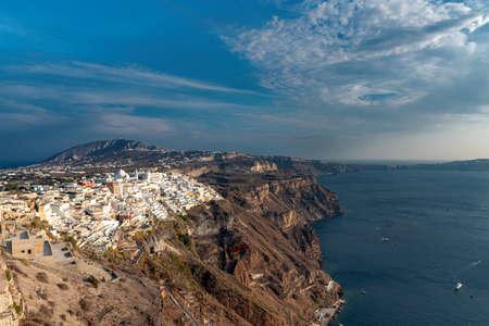 View of terrace on the Mediterranean sea - Thira village - Aegean sea - Santorini island - Greece