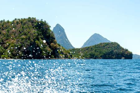 View of Soufriere bay - Petit Piton area - Caribbean island - Saint Lucia