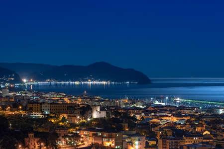 View of the Tigullio bay by night - Chiavari, Lavagna and Sestri Levante - Ligurian sea - Italy