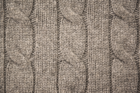 cable stitch: Gray cable knit close-up