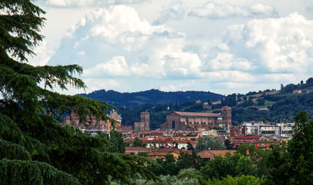 Panoramic view of Bologna: the church of San Petronio. The cathedral of San Pietro. The hills of the city on background