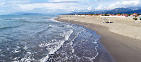 Seascape with clouds of Forte dei Marmi. Tuscany, Italy